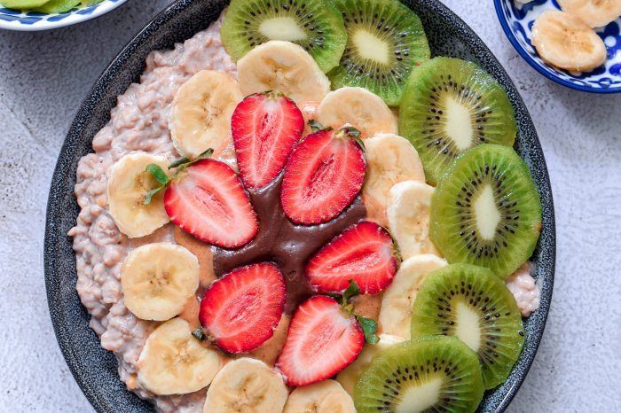 овесена каша, протеинова закуска, тахан, бадем, протеин, спорт, рецепта